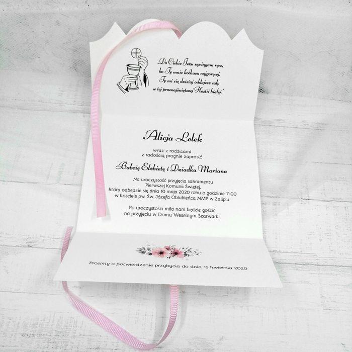Zaproszenie na komunię dla dziewczynki z różową wstążką ZKS 010 - Zaproszenie na komunię dla dziewczynki z różową wstążką  (3)