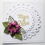 Kartka MĄŻ I ŻONA z różowym kwiatem
