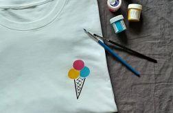 Koszulka ręcznie malowana lody vintage unisex