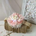 Opaska dla dziewczynki ecru tiul kwiat