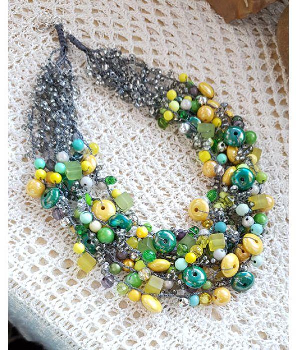 5018 naszyjnik szary żółty zielony -