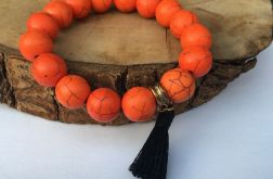 Bransoletka z howlitu pomarańczowa Halloween