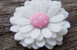 Spinka do włosów kwiatek biały PEONY PINK