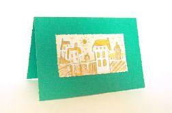 Ręcznie robiona kartka  zielona - domki