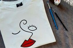Koszulka ręcznie malowana red lips