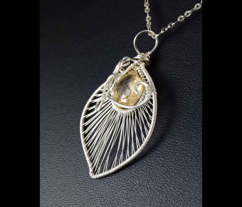 Srebrny wisior z cytrynem wire wrapped