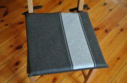 2 poduszki na krzesła filcowe, filc- białe napisy