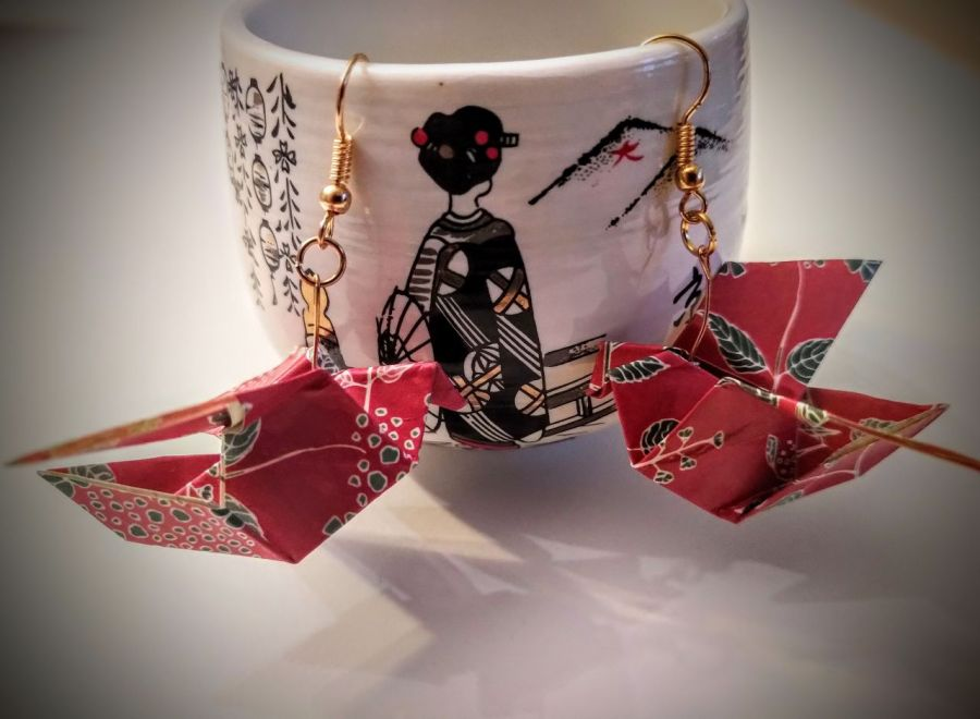 Kolczyki origami ptaszki czerwone - Z boku