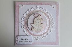 Kartka na Chrzest różowa z aniołkiem dziewczy