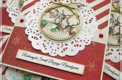 Kartka świąteczna z mikołajem, reniferami