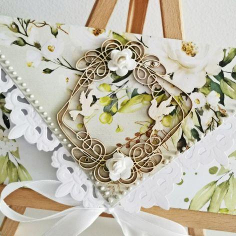 Kartka ślubna kopertówka floral V