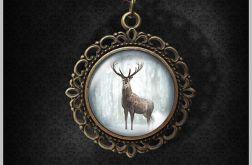 Medalion, naszyjnik - Jeleń 3 - romantyczny, antyczny brąz