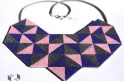 Geometryczny fioletowo-różowy naszyjnik z filcu