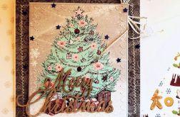 Kartka świąteczna w stylu shabby chic-choinka