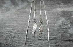 Srebrne kolczyki PIóRKA na łańcuszku