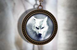Naszyjnik, medalion - Biały wilk - antyczny brąz - zdobiony