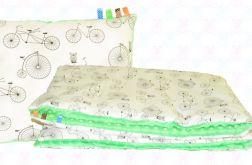 Gruby koc MINKY + poduszka rowery+zielony