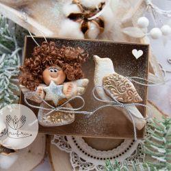 Świąteczny podarek: Anioł i ptaszek, pudełko.