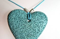 Serce,błękitna lawa wulkaniczna, wisior