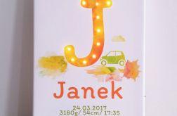 Metryczka z literą LED- prezent dla chłopca