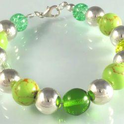 Zielone Szklane Akrylowe Srebrne Kulki