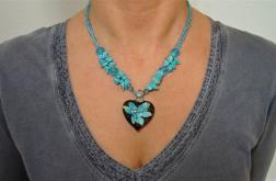 Naszyjnik Turkusowy – kwiat w sercu