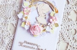 Kartka komunijna DL dziewczynka kwiaty GOTOWA