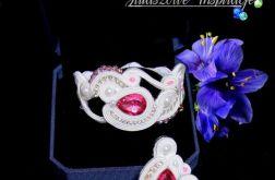 Biżuteria ślubna magenta, komplet ślubny sutasz fuksja