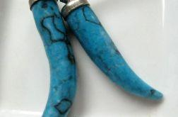 Turkus niebieski, kieł, wisiorek uniseks