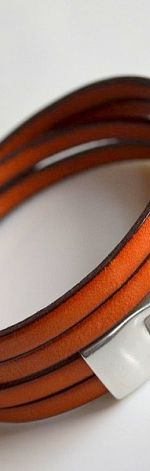 Bransoletka pomarańczowa skóra