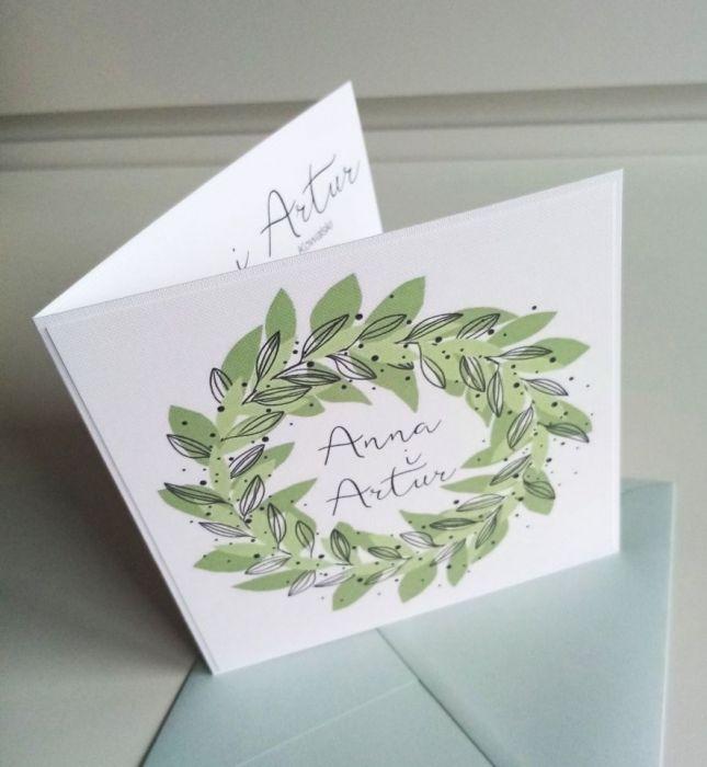 Zaproszenie ślubne z zielonym wiankiem - wianek07