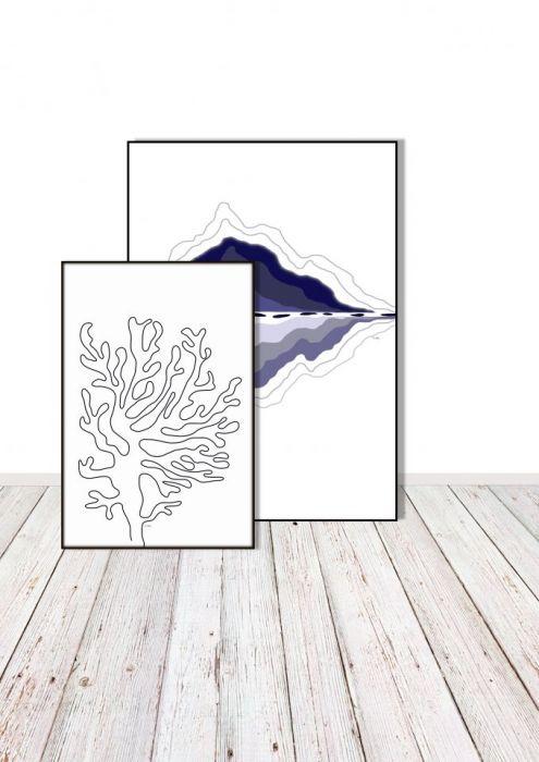 Grafika minimalistyczna Koral, Koralowiec - W duecie