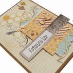 Plaster miodu i muszka kartka dla Taty - Kartka z ptaszkiem i plastrem miodu na Dzień Ojca