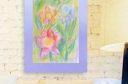 Rysunek z kwiatami na fioletowym tle nr 7