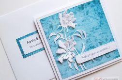 Kartka Ślubna niebiesko-biała