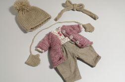 Zestaw dla lalki z płaszczykiem, rękawiczki.