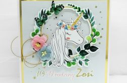 Kartka urodzinowa z jednorożcem złota Unicorn