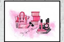 """Różowy obrazek/plakat """"Girl Power"""" + RAMKA"""