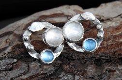 Kolczyki srebrne wkrętki z kryształem topazem