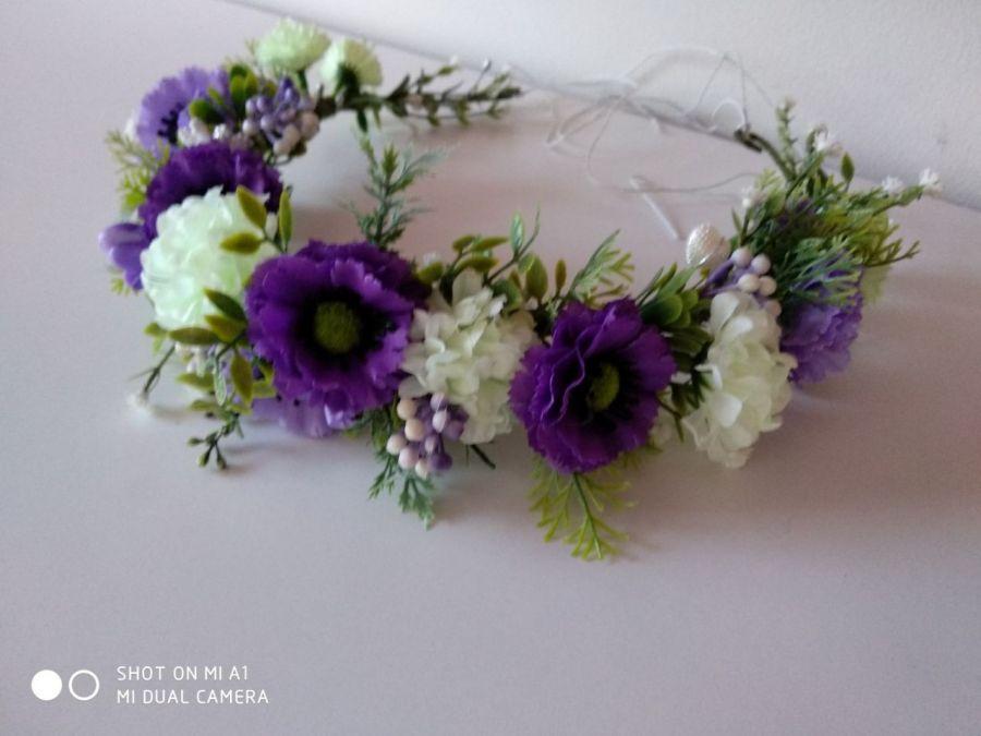 wianek do włosów fioletowo-ecru