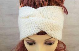 Opaska zimowa turban ecru