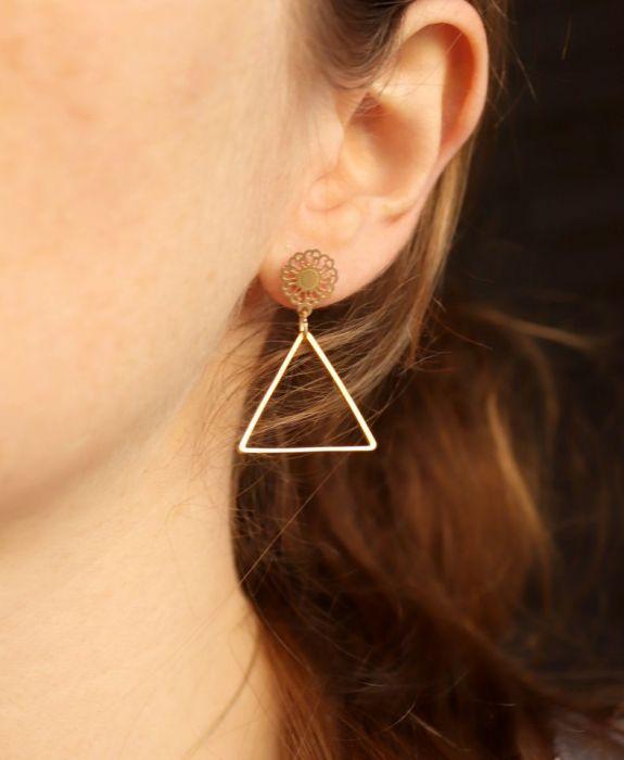Kolczyki trójkąty wiszące - kolczyki do ucha