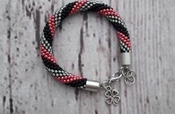 Bransoletka wąż czarno-czerwono-szara