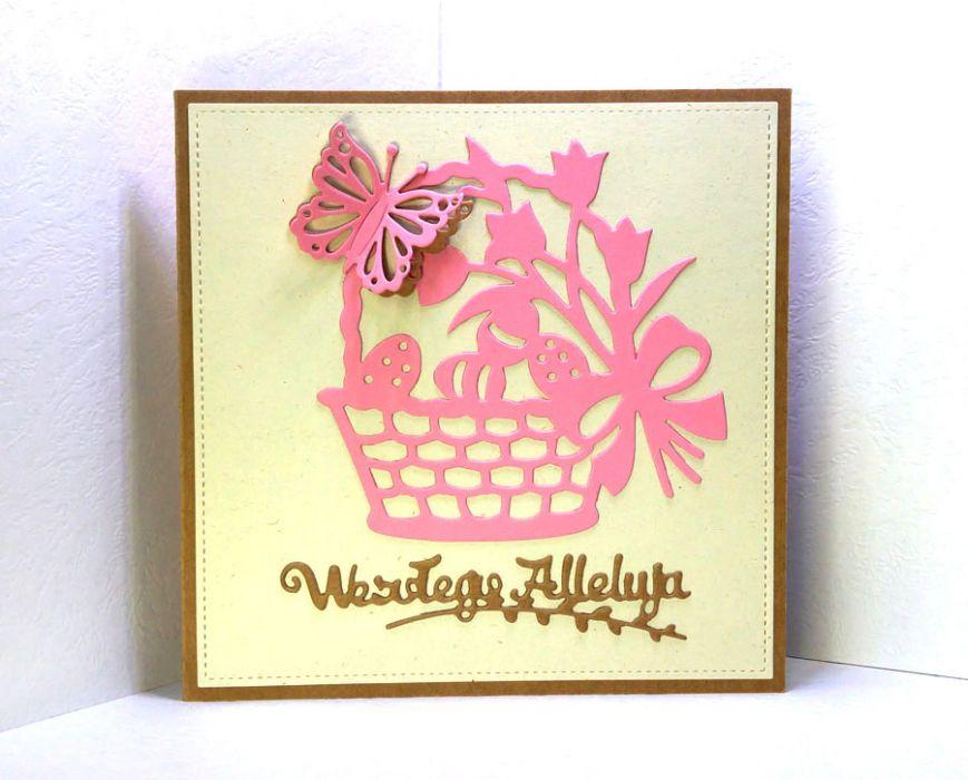 Kartka wielkanocna - różowy koszyczek