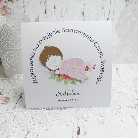 Zaproszenie na Chrzest Św- śpiące dziecko