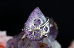 Srebrny pierścionek z purpurytem handmade