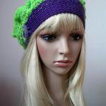 Fioletowo - zielony modny berecik