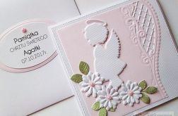 Kartka PAMIĄTKA CHRZTU z białym aniołkiem