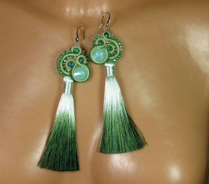 Leśne - kolczyki sutasz z chwostem zielone - Leśne- zielone z chwostem