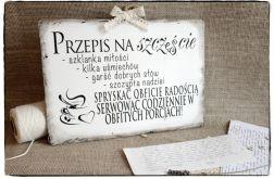 Tabliczka z napisem ~Przepis na szczęście~